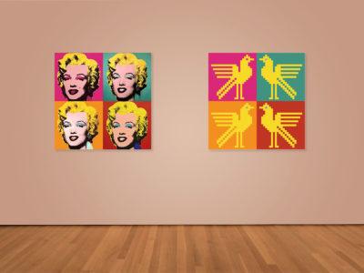 Felicitare cu motiv românesc inspirată de Andy Warhol